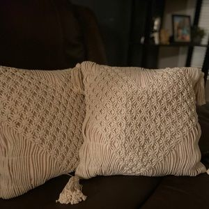 Opalhouse macrame heart shaped throw pillow